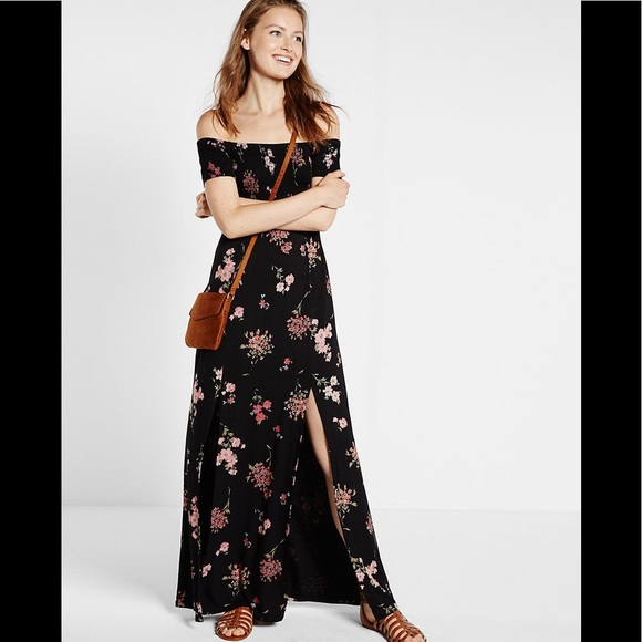 8d00382c6d Express Dresses   Skirts - Express Floral Print Off Shoulder Maxi Dress